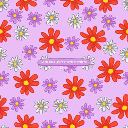 cartoony violet red and white flower on purple background seamless pattern