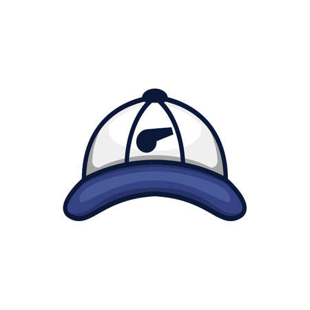 Ilustración de logotipo de icono de sombrero de béisbol entrenador entrenador azul Logos