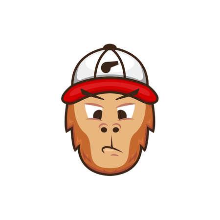 Monkey Coach mascot logo face. Ape trainer with baseball hat coach character logo illustration