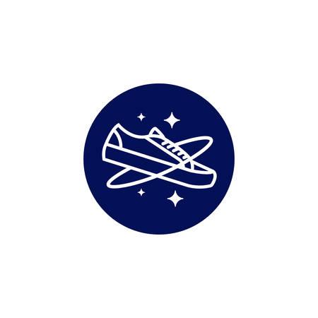 Galaxy planet shoe logo icon line monoline symbol illustration Illustration