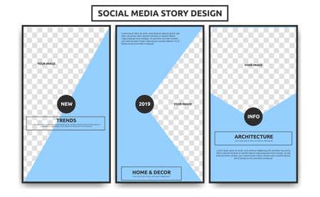 Bearbeitbare Social-Media-Story-Frame-Vorlage. Kreative einfache weiche hellblaue Architektur Innenartikel Social Media Story Thema