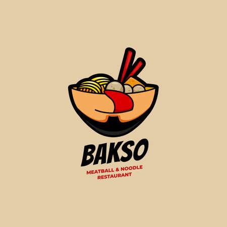 Köstliche Bakso Fleischbällchen- und Nudel-Restaurantschale mit Gesichtslogo-Symbolikonenillustration Logo