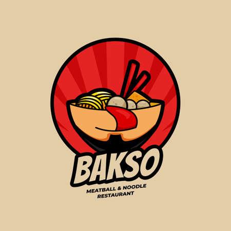 Köstliche Ramen Bakso Fleischbällchen- und Nudel-Restaurantschale mit Gesichtslogo-Symbolikonenillustration