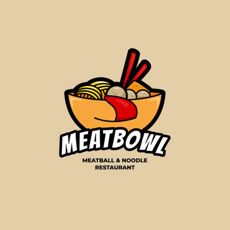 Delicious Bakso Meatball and Noodle bowl logo with half face tongues symbol icon illustration