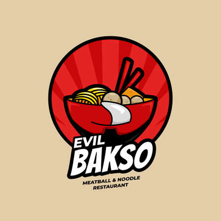 Evil Ramen Bakso Meatball and Noodle Restaurant bowl with face logo symbol icon illustration