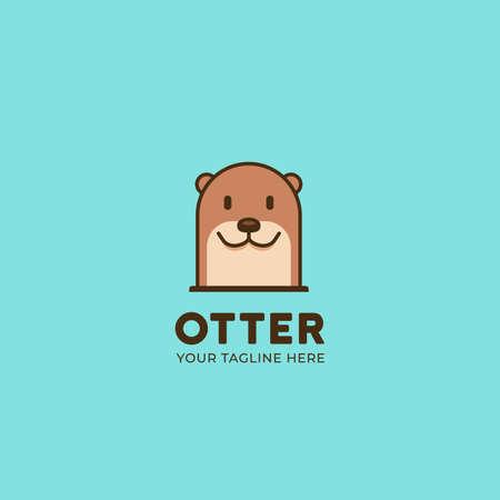 Semplice carino animale castoro o lontra testa logo icona illustrazione simbolo