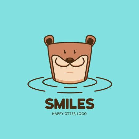 Happy beaver otter logo icon. otter on the water animal logo illustration