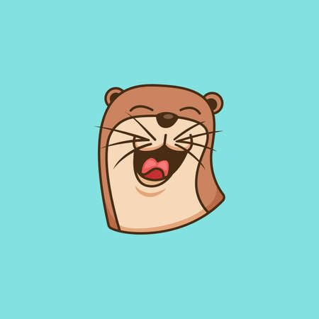 Happy otter logo icon symbol illustration