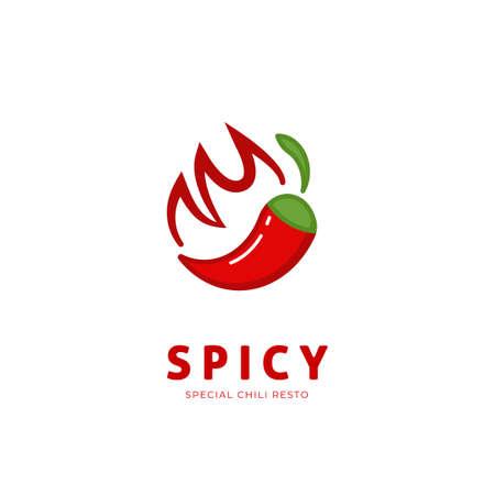 Spicy chili logo with fire symbol icon illustration resto restaurant Vectores