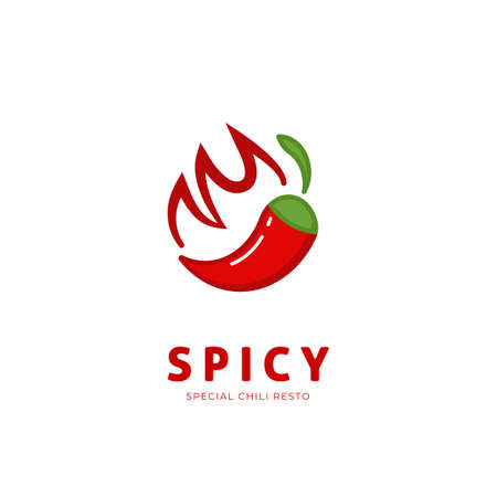 Spicy chili logo with fire symbol icon illustration resto restaurant 向量圖像