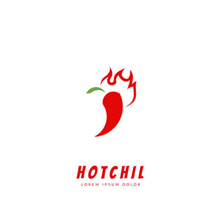 Hot chilli peppers with flame logo icon symbol flat style