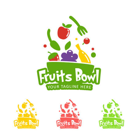 Happy healthy smoothie fruits bowl logo icon symbol color and one color set Illustration