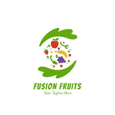 Frullati sani fusione di succo di frutta logo icona simbolo stile piatto