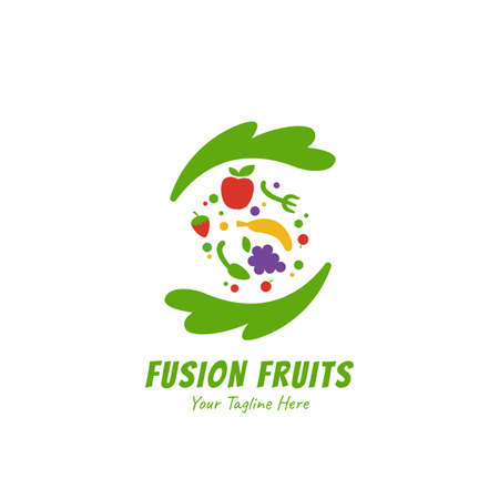 Healthy smoothies juice fusion fruits logo icon symbol flat style