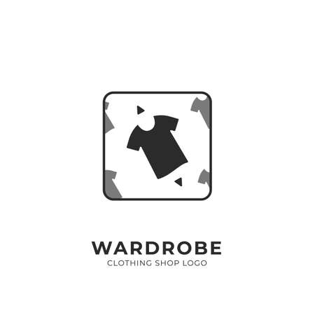 Wardrobe custom selection pick clothing fashion shop logo badge square stamp  イラスト・ベクター素材