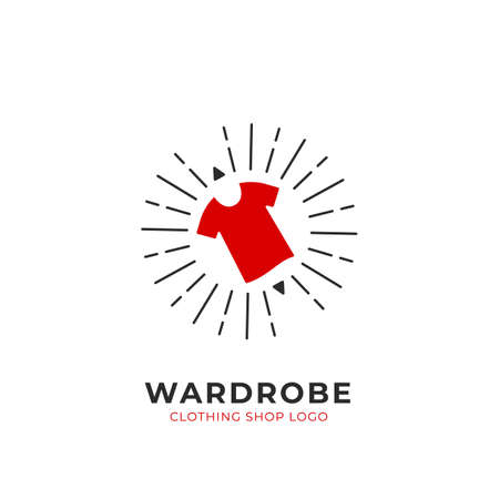 Red Wardrobe custom selection clothing fashion shop logo simple with shining sun burst