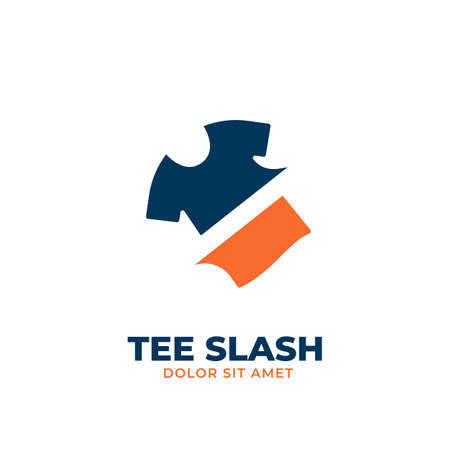 Navy Orange fashion clothing tee slash cutted logo icon symbol simple Illustration