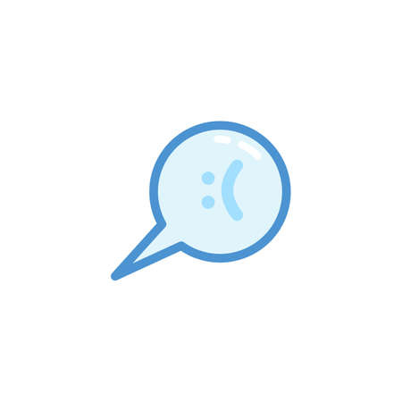 sad smiley emoji. emoticon in bubble speech with cute blue outline style Illustration