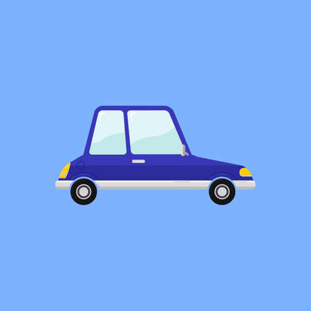 Vintage Blue Car in funny cartoon style