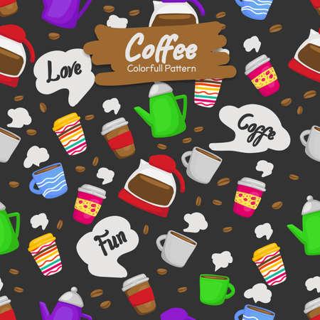 bunte lustige Doodle Kaffeetasse trinken Hintergrund nahtlose Muster