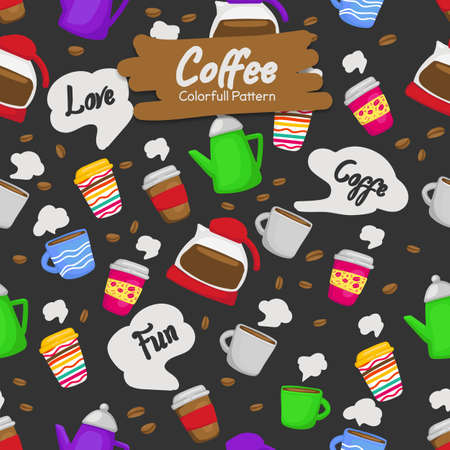 colorful funny doodle coffee cup drink background seamless pattern