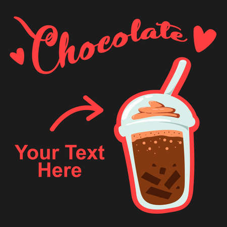 chocolate plastic cup take away drink illustration with text template