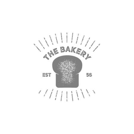 Vintage bakery symbol with sun burst stamp grain texture style 向量圖像
