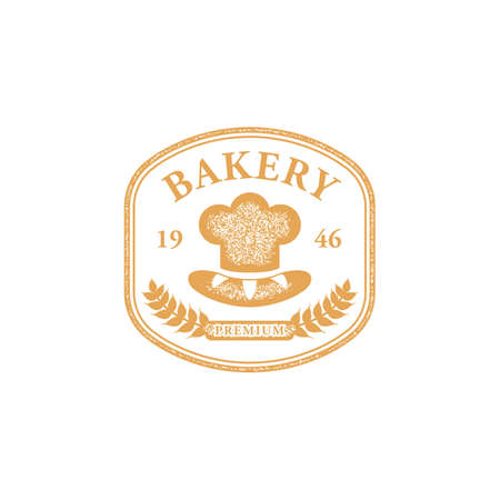 Bakery chef badge  emblem old vintage texture style