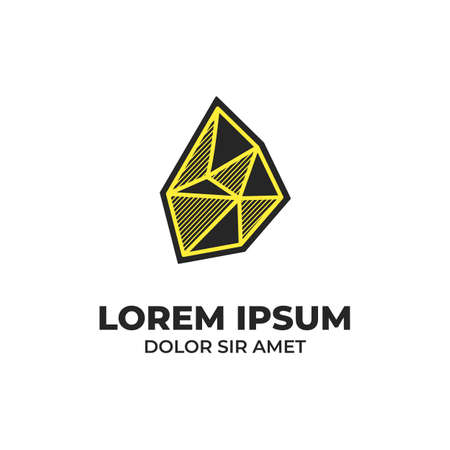 Black stone icon logo with yellow hatching shading style Illustration