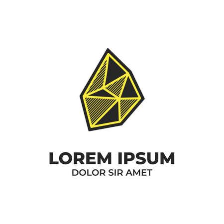 Black stone icon logo with yellow hatching shading style Illustration