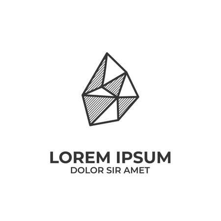Black stone logo icon outline line art with hatching shading style Illustration