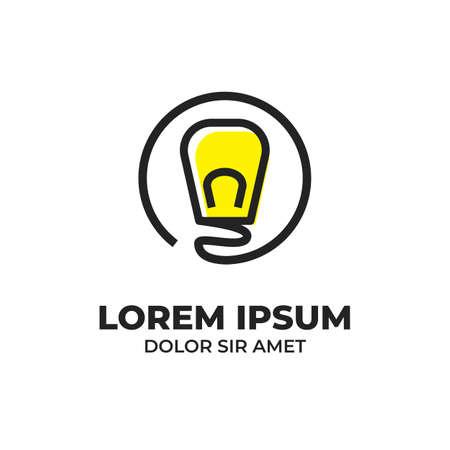 Bulb lamp energy idea inside circle badge icon logo in outline monoline style