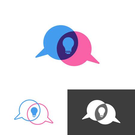 Icono de logotipo de chat y discusión de foro de conversación de idea