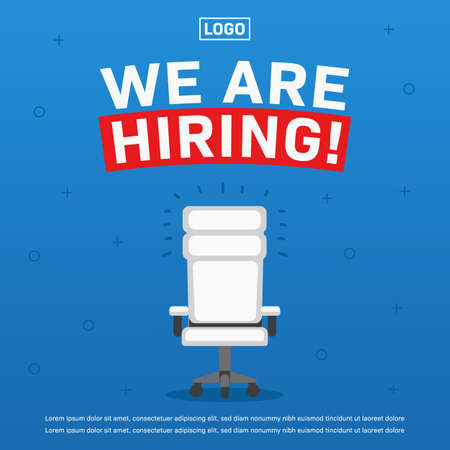 Job vacancy we are hiring poster with empty office chair illustration ads