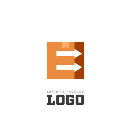 Letter E package delivery logo with negative space forward arrow of improvement quality service icon symbol simple of shipping company Illustration