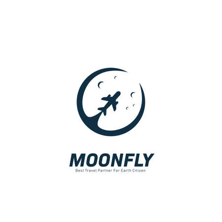 Moon fly tour and travel agency logo with moon and plane silhouette icon symbol illustration