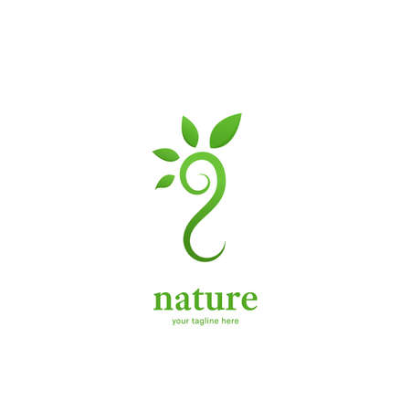 Abstract nature leaf spread of sprout icon symbol of green brand