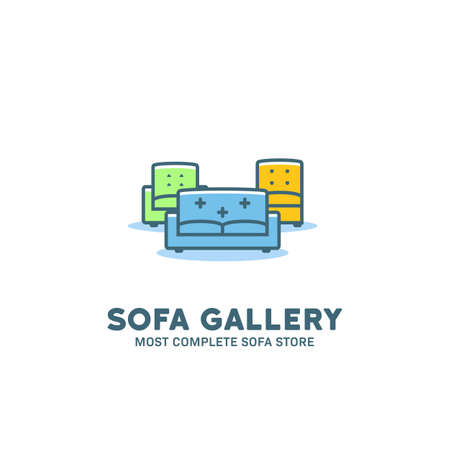 Complete sofa store gallery logo icon symbol in cartoon simple flat style