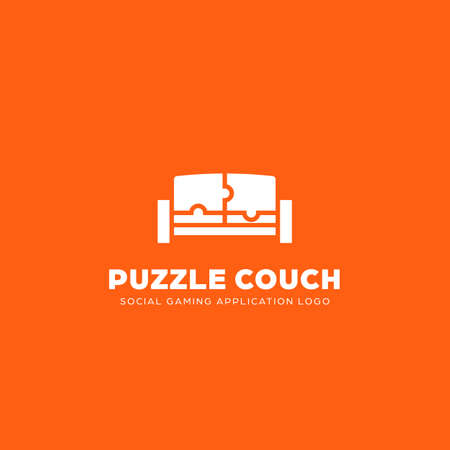 Puzzle Couch Social Gaming Application logo icon, simple and modern style sofa illustration with puzzle shape and fun orange color