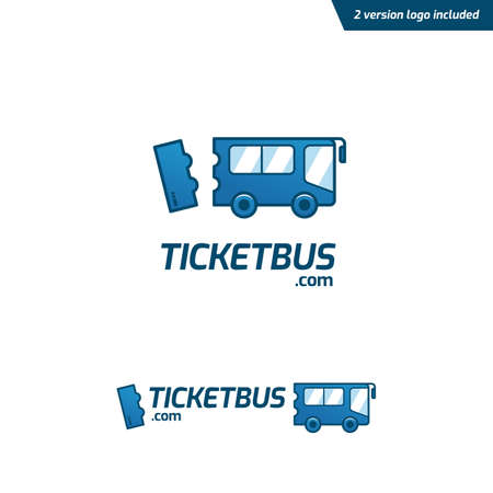Ticket Bus logo, fun and playful bus ticketing website logo icon symbol in cartoon style
