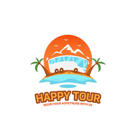 Happy tour and travel illustrative logo badge in fun colorful cartoon style icon design