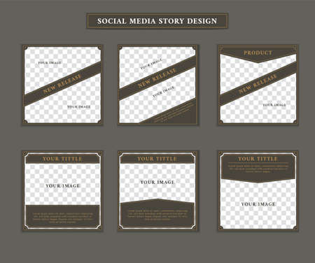 Social media post template in vintage retro artdeco victorian style theme with paragraph and issue title text set