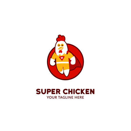 Super hero chicken logo mascot character flying in cartoon cute fun playfull style illustration icon Ilustrace