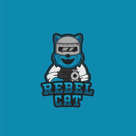 Rebel cat logo mascot illustration for gaming gamer or streamer of esport