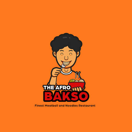 Das Afro-Bakso-Nudeln-Logo-Maskottchen mit männlichem Afro-Haarcharakter, der Fleischbällchen isst