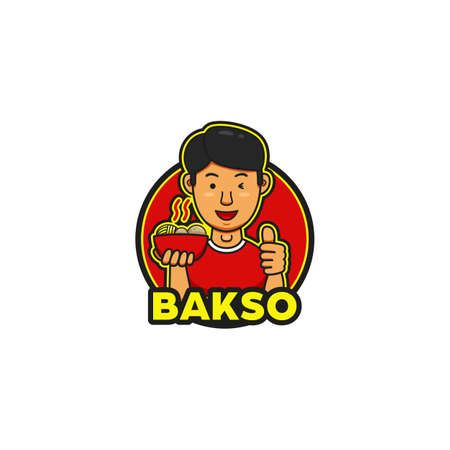 Yummy tasty bakso logo with young handsome character mascot show thumb of good taste and recommended Logo