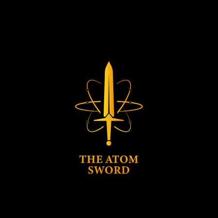 The mighty atom sword logo icon, super power magic sword logo symbol in gold color with atom orbit line illustration