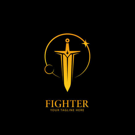 Moon and Stars light sword logo, warrior fighter logo icon symbol in golden color with black background 写真素材 - 117613286