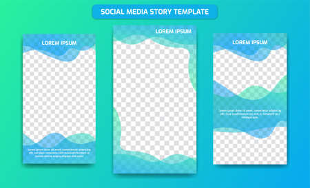 Social media story design template background frame in Fresh Ocean gradient color of blue and green mix