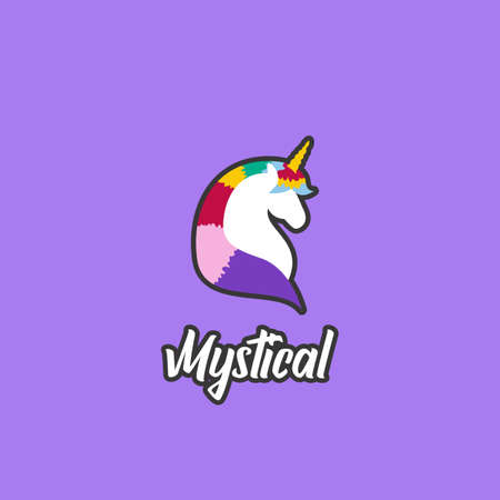 Colorful unicorn the mystical creature logo icon badge emblem cartoon illustration style with outline